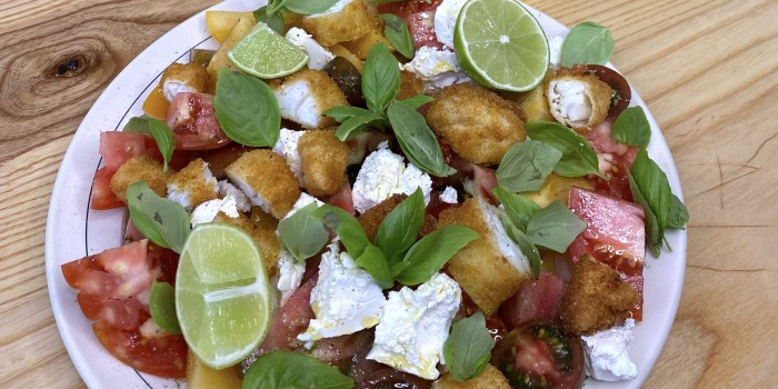 Fresh Tomato Salad with Fish Stick Croutons