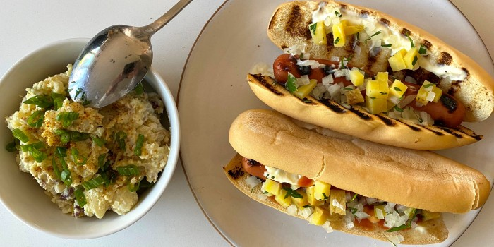 Caribbean Hot Dogs with New Orleans Creole Potato Salad