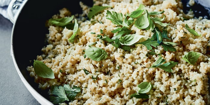 "Chrissy Teigen's Garlicky Cauliflower ""Rice"""