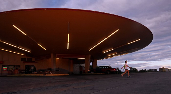 Image: 'The Flying Saucer' Phillips 66 Gas Station The developer who owns the Del Taco, located at 212 South Grand Boulevard wants to knock it down and replace wit...