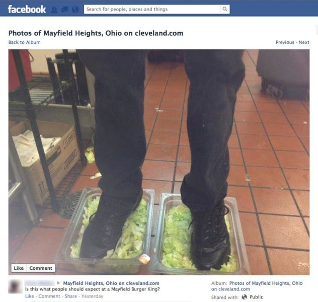 Feet-in-lettuce photo hits Internet, gets Burger King employees ...