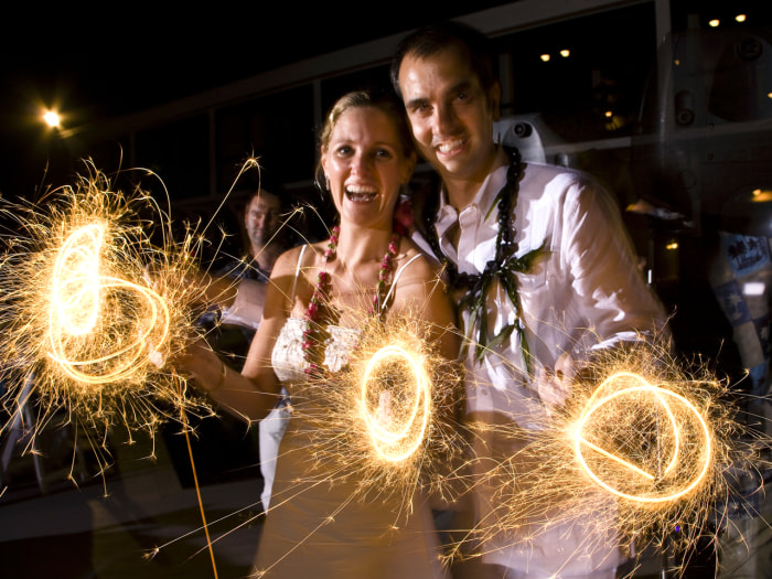 Sparklers have taken hold in recent years as a popular wedding trend.