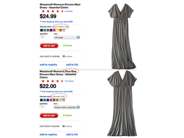 Twitter user Susan Clemens posted this screengrab of the dress from Target's website.