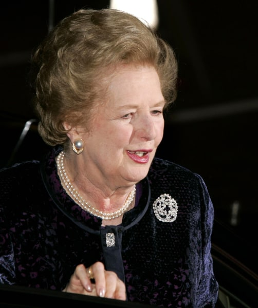 Former British Prime Minister Margaret Thatcher arrives at her 80th birthday party at a London hotel, in this Oct. 13, 2005 file photo. Thatcher was a...