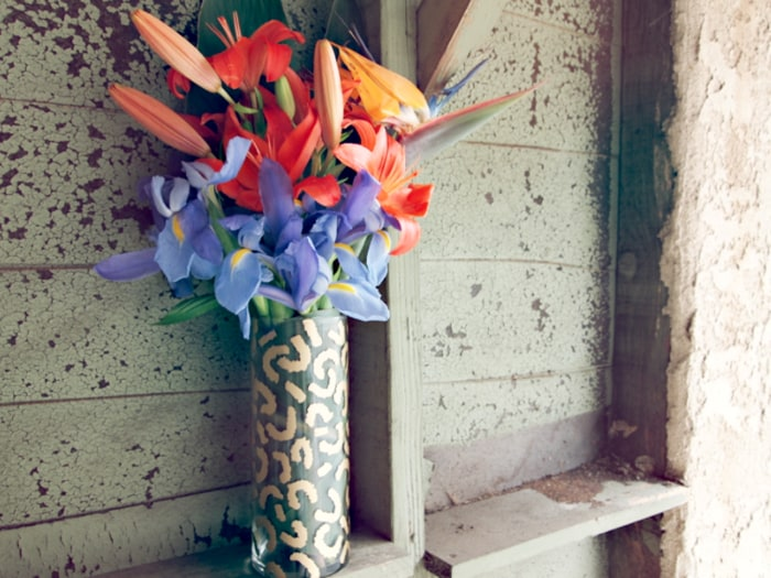 Fill your vase with an arrangement of your favorite flowers.