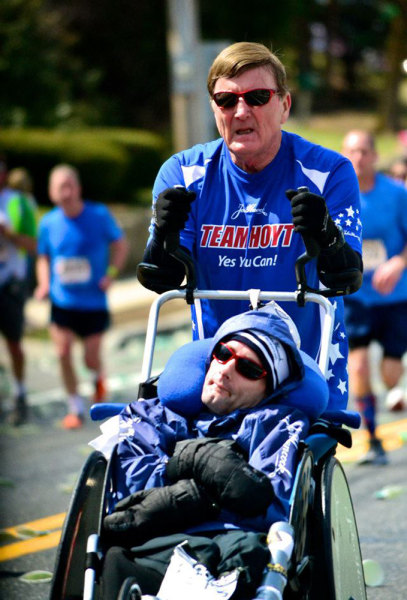 Image: Dick and Rick Hoyt running in the Boston Marathon on April 15, 2013