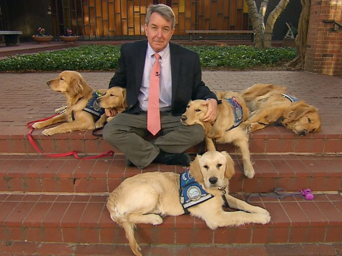 Kerry Sanders and comfort dogs