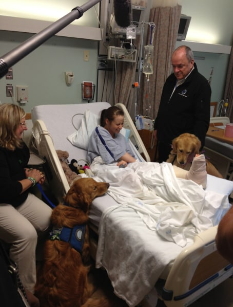 Image: Lee Ann Yanni with comfort dogs in hospital