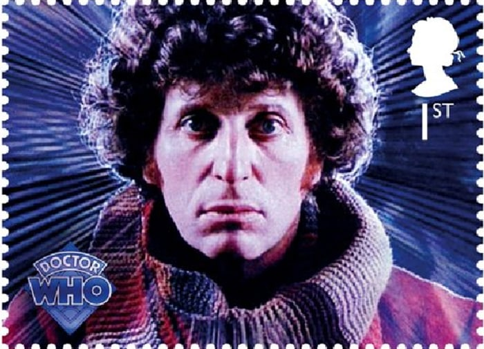 """Royal Mail """"Dr. Who"""" series stamp: The Fourth Doctor - Tom Baker."""