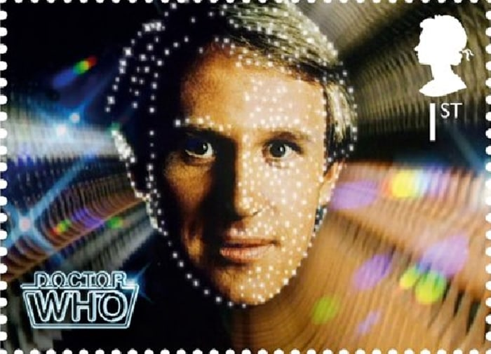 """Royal Mail """"Dr. Who"""" series stamp: The Fifth Doctor - Peter Davison."""