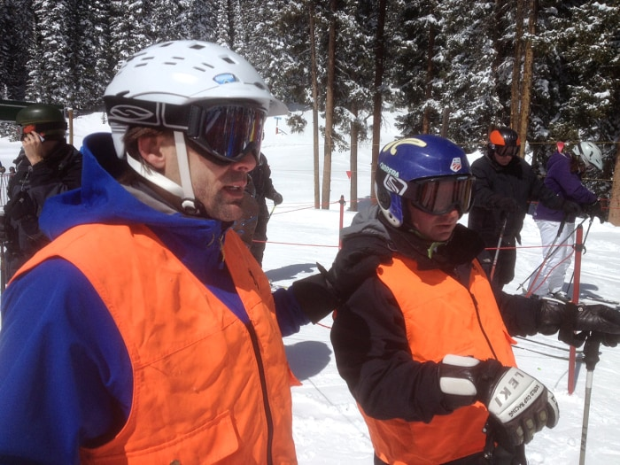 Eric Weihenmayer (R) and his ski guide, Jeff Ulrich, take a spin on the slopes in Vail. Weihenmayer is one of the world's most accomplished blind outd...