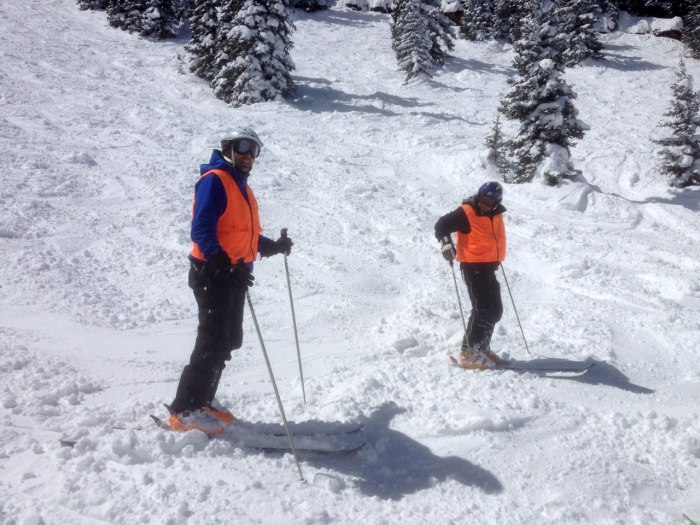 Ulrich and Weihenmayer use audible cues to maneuver the slopes.