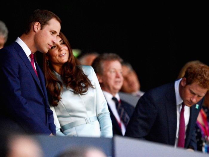 LONDON, ENGLAND - JULY 27:  (L-R) Prince William, Duke of Cambridge, Catherine, Duchess of Cambridge and Prince Harry are seen during the Opening Cere...