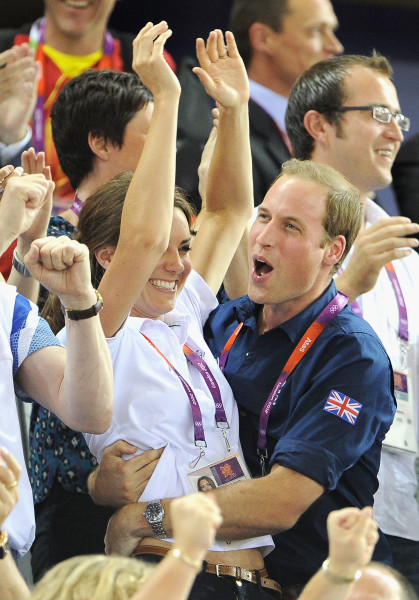 LONDON, ENGLAND - AUGUST 02:  Catherine, Duchess of Cambridge and Prince William, Duke of Cambridge during Day 6 of the London 2012 Olympic Games at V...