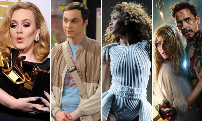 """Image: Adele, Jim Parsons, Beyonce, """"Iron Man 3"""""""