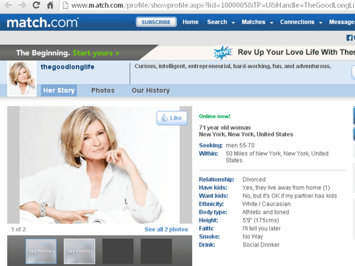 Martha Stewart's profile on Match.com.