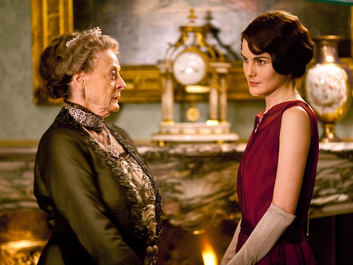From left to right: Dame Maggie Smith as Violet, Dowager Countess of Grantham and Michelle Dockery as Lady Mary