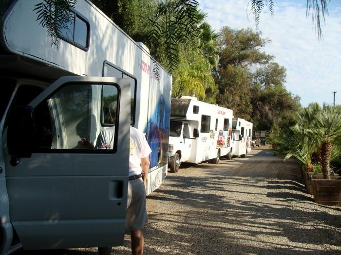 Image: Three RVs used on journey