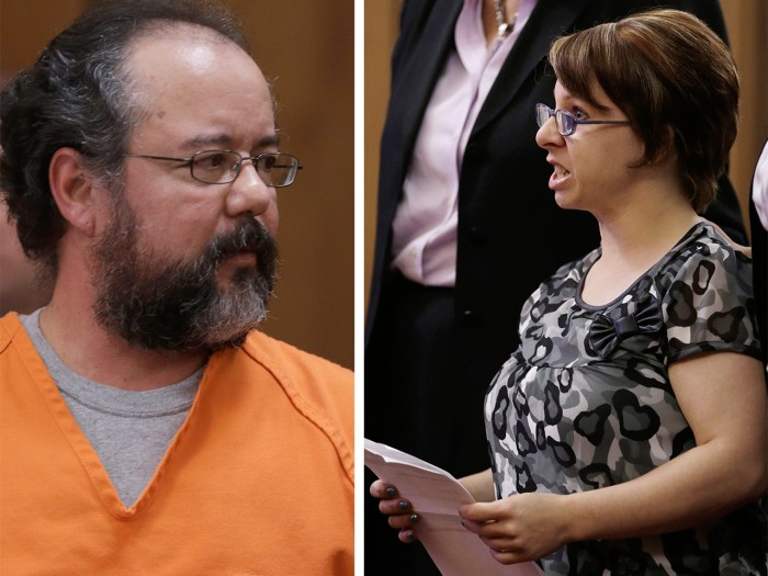 Ariel Castro and Michelle Knight during Castro's sentencing phase in Cleveland.