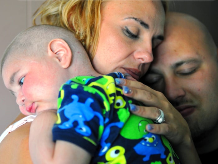 Christine Swidorsky holds her terminally ill son, Logan.