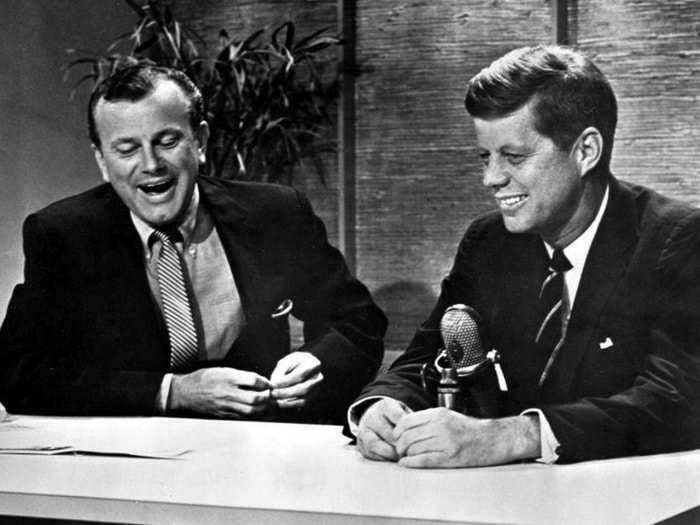 Photo of television host Jack Paar and John F. Kennedy as a Senator and Presidential candidate when he appeared on The Tonight Show in 1959. Jack Paar...