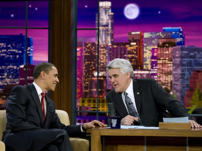 "U.S. President Barack Obama joins Jay Leno before appearing on the NBC late night comedy show, ""The Tonight Show with Jay Leno,"" in Burbank, Californi..."
