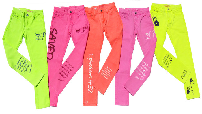 Kylie Bisutti's new clothing line, called God Inspired Fashion, includes a collection of of neon-colored denim.