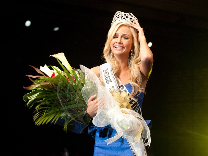 Miss California Teen USA 2013, Cassidy Wolf, is crowned Miss Teen USA 2013. She celebrates on stage after the crowning from Atlantis, Paradise Island ...