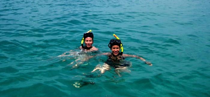 Jenna and Steph snorkeling