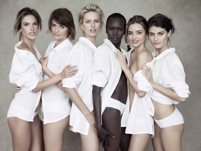 Posing pretty: Alessandra Ambrosio, Helena Christensen, Karolina Kurkova, Alek Wek, Miranda Kerr and Isabeli Fontana pose for photographs to celebrate the upcoming 2014 Pirelli Calendar.