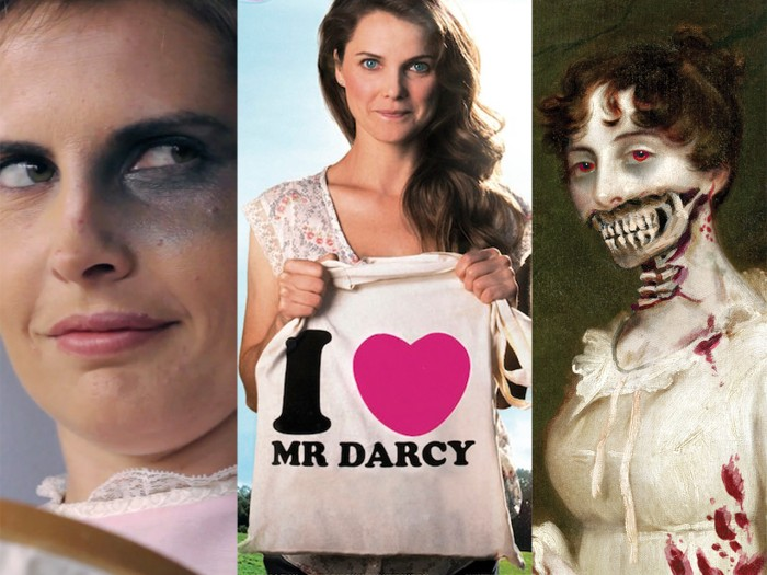 "Images from Jane Austin's Fight Club, Keri Russell in ""Austenland"" and the book cover of ""Pride and Prejudice and Zombies."""