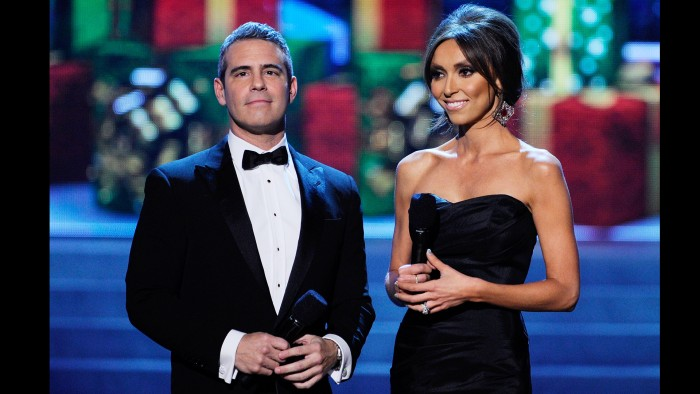 Former Miss Universe host Andy Cohen, shown with co-host Giuliana at the 2012 pageant on Dec. 19, 2012 in Las Vegas, has said he will not be attending this year's festivities in Russia.