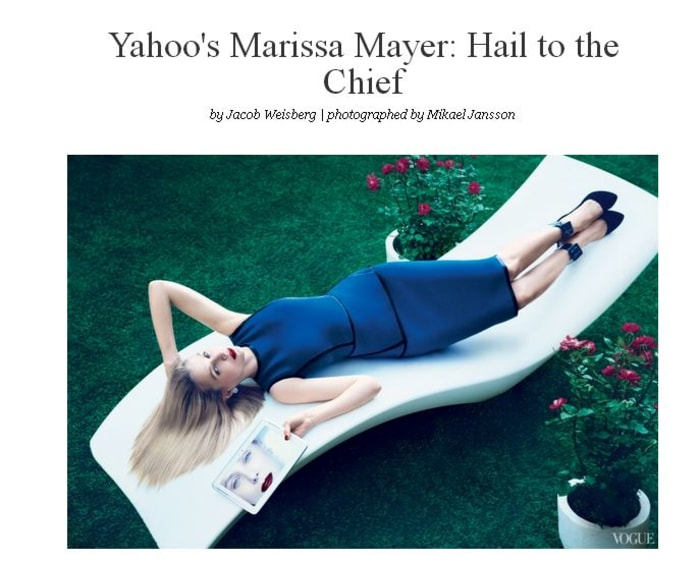 Yahoo CEO Marissa Mayer poses for the cover of Vogue.
