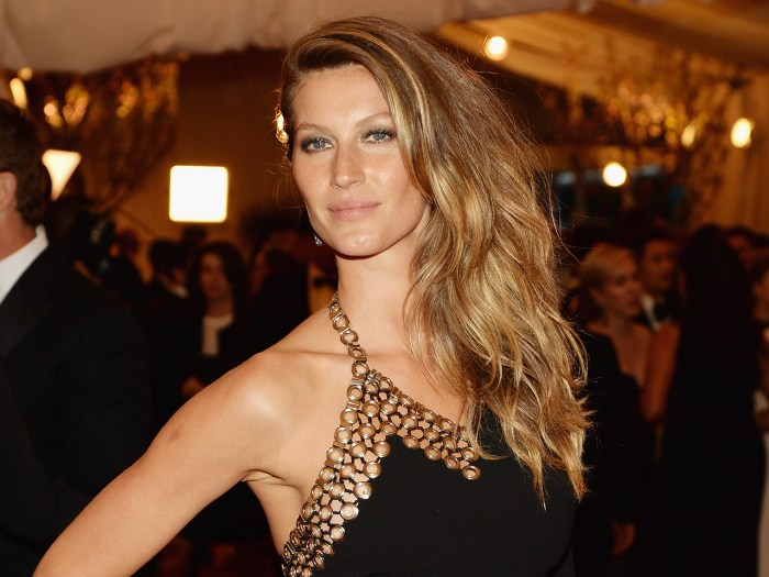 "NEW YORK, NY - MAY 06:  Gisele Bundchen attends the Costume Institute Gala for the ""PUNK: Chaos to Couture"" exhibition at the Metropolitan Museum of A..."