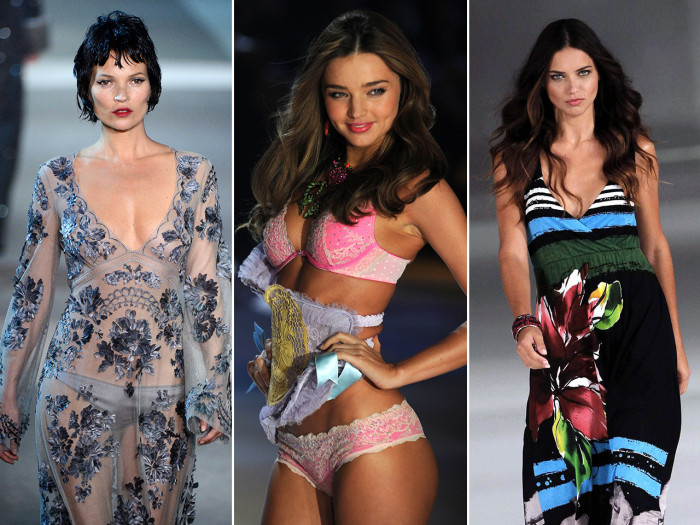 Models Kate Moss, Miranda Kerr and Adriana Lima made Forbes highest-paid models list.