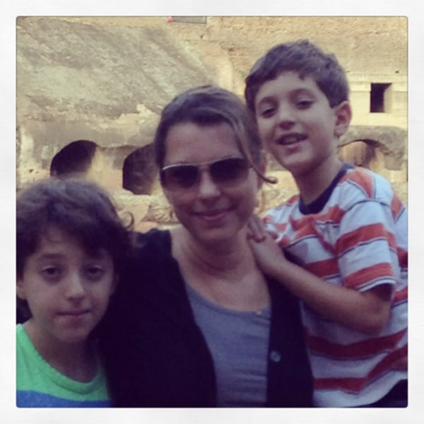 Monique and her two boys in Rome.