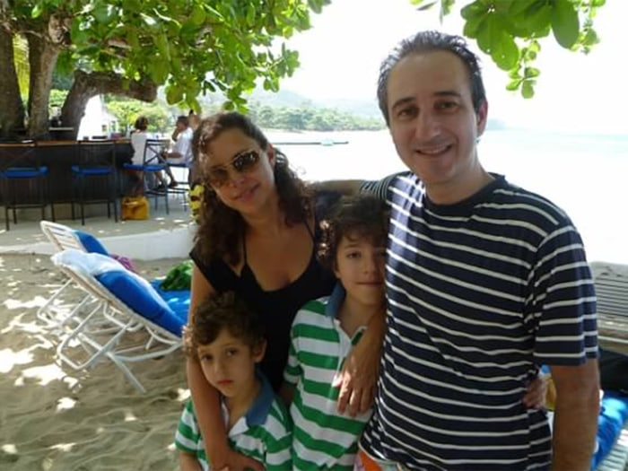 The author, with her sons and husband, on vacation in Montego Bay, Jamaica.