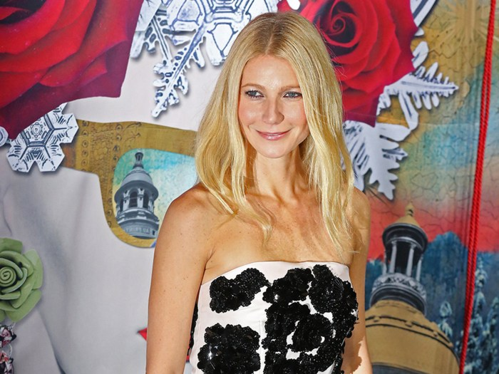 U.S. actress  Gwyneth Paltrow poses for photographers before unveiling a  Christmas-themed  shop window at Le Printemps department store in Paris, Thu...