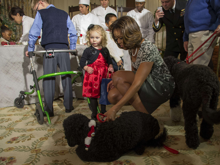 US First Lady Michelle Obama (R) pulls on her dog Sunny as two-year-old Ashtyn Gardner recovers after falling during the White House Christmas decorat...
