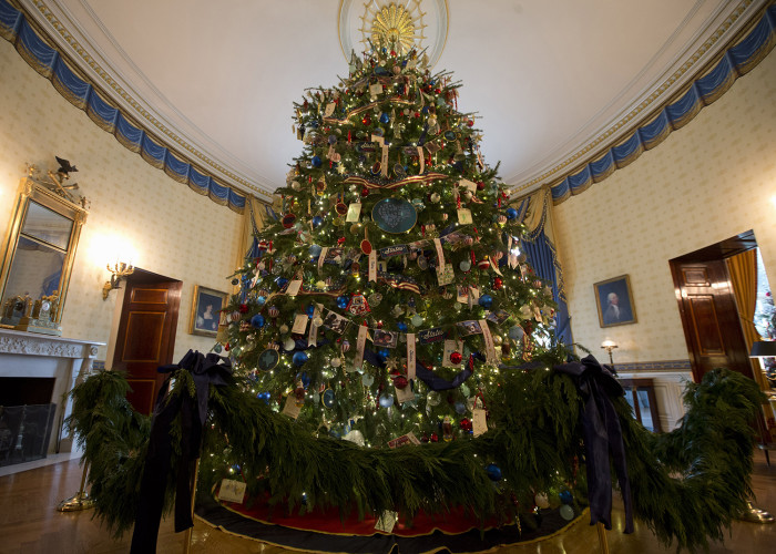 The ornament laden White House Christmas tree is seen in the Blue Room of the White House in Washington, Wednesday, Dec. 4, 2013. (AP Photo/Jacquelyn ...