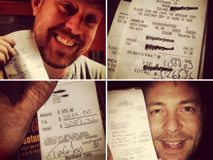 """Instagram posts that document generous gratuities left by a man who signs his receipts """"Tips for Jesus"""""""