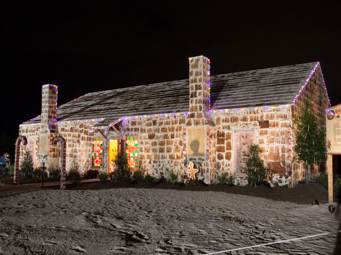 It took 1,800 pounds of butter, 7,200 eggs, 7,200 pounds of flour and close to 3,000 pounds of brown sugar, plus 22,304 pieces of candy, to create the outside of the gingerbread house.