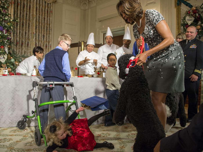US First Lady Michelle Obama (R) pulls on her dog Sunny as two-year-old Ashtyn Gardner takes a tumble during the White House Christmas decorations vie...