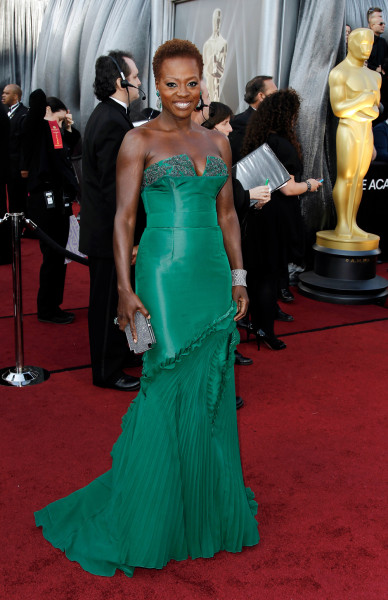 Viola Davis arrives before the 84th Academy Awards on Sunday, Feb. 26, 2012, in the Hollywood section of Los Angeles. (AP Photo/Matt Sayles)