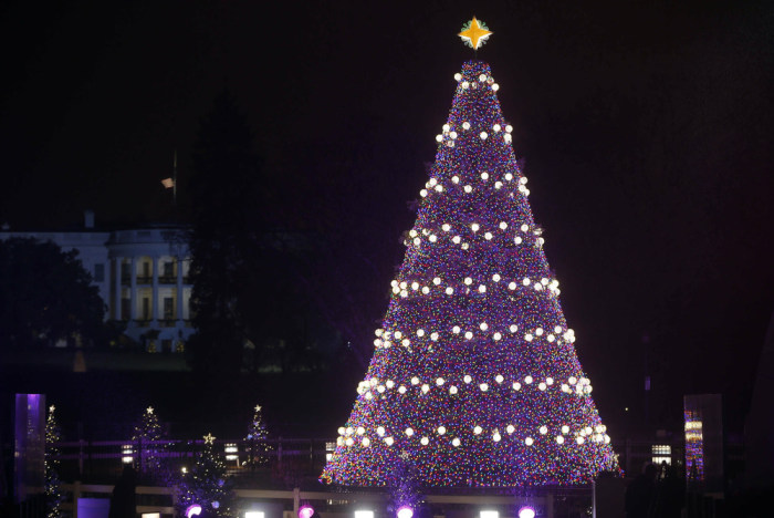 The National Christmas Tree with the White House in the background as seen from the Ellipse after President Barack Obama, first lady Michelle Obama, d...