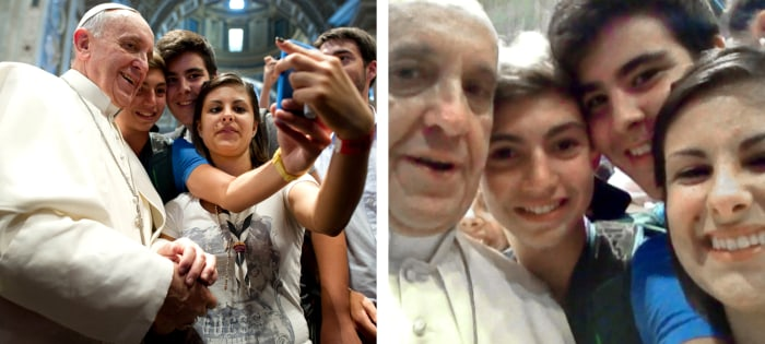 In this combo picture of a Aug. 28, 2013 file photo provided Thursday, Aug. 29, 2013 by the Vatican newspaper L'Osservatore Romano, left, and a photo ...