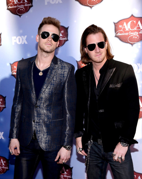 LAS VEGAS, NV - DECEMBER 10:  Recording artists Tyler Hubbard (R) and Brian Kelley of Florida Georgia Line arrive at the 2013 American Country Awards ...