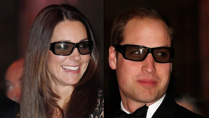 Image: Duchess Kate and Prince William wearing 3D glasses