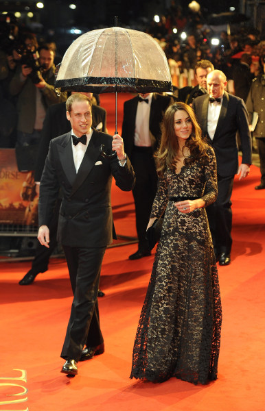 Britain's Prince William (L) arrives with Catherine, Duchess of Cambridge to the UK premiere of the film 'War Horse' in London January 8, 2012. REUTER...