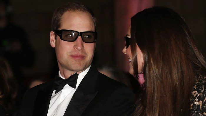 "Britain's Prince William and his wife Catherine, the Duchess of Cambridge, wear 3D glasses before a screening of ""David Attenborough's Natural History..."